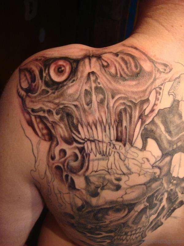 Horror Tattoo On Left Back Shoulder