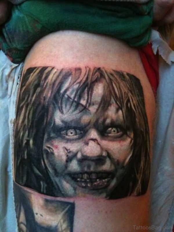 Horror Zombie Girl Face Tattoo Design