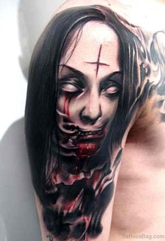 Horror Zombie Girl Face Tattoo On Right Shoulder