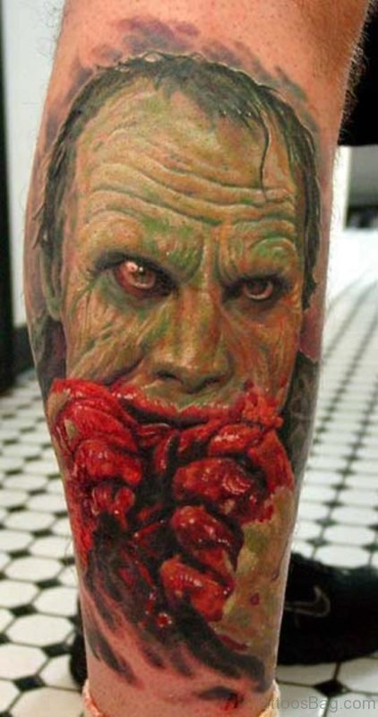 Horror Zombie Portrait Tattoo On Right Leg