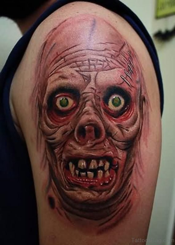 Horror Zombie Tattoo On Shoulder