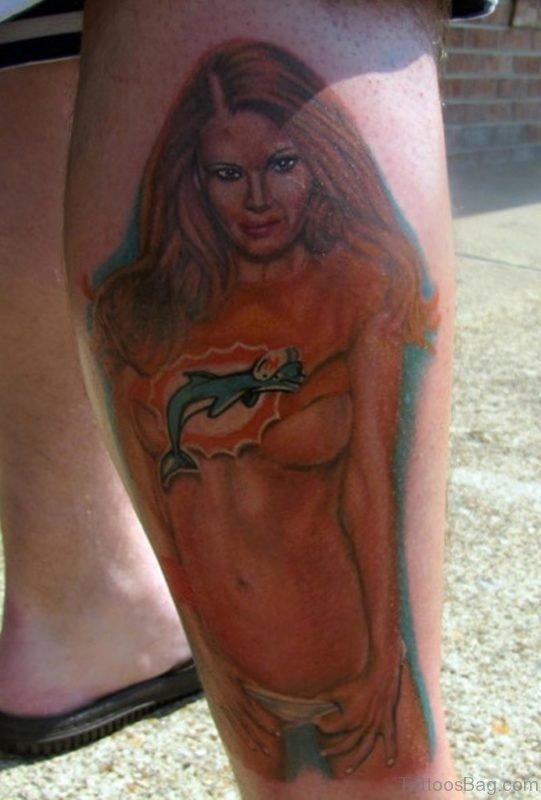 Hot Girl Portrait Tattoo On Leg