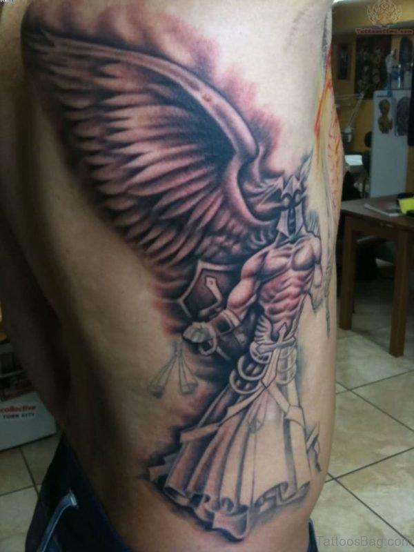 Huge Angel Of Justice Tattoo On Rib Side