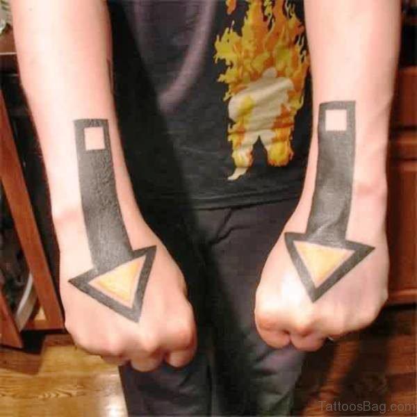 Huge Arrows Tattoos On Hands
