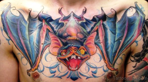 Huge Colorful Bat Tatoo On Chest