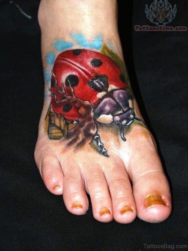 Huge Ladybug Tattoo On Foot