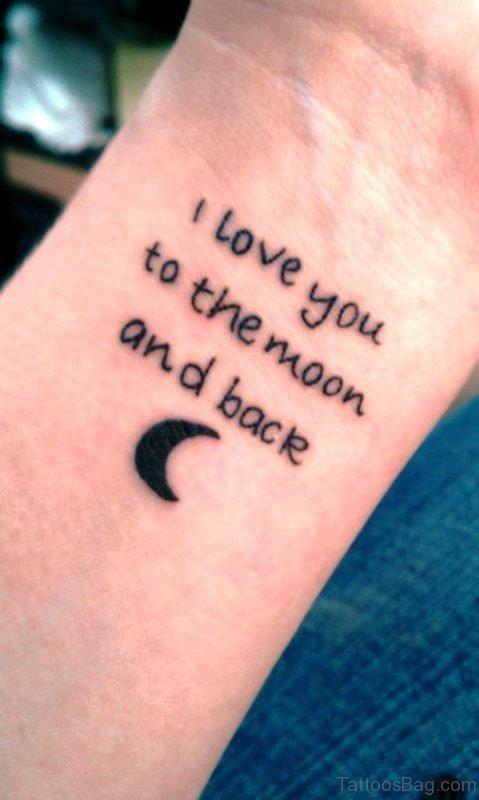 I Love You To The Moon Wrist Tattoo