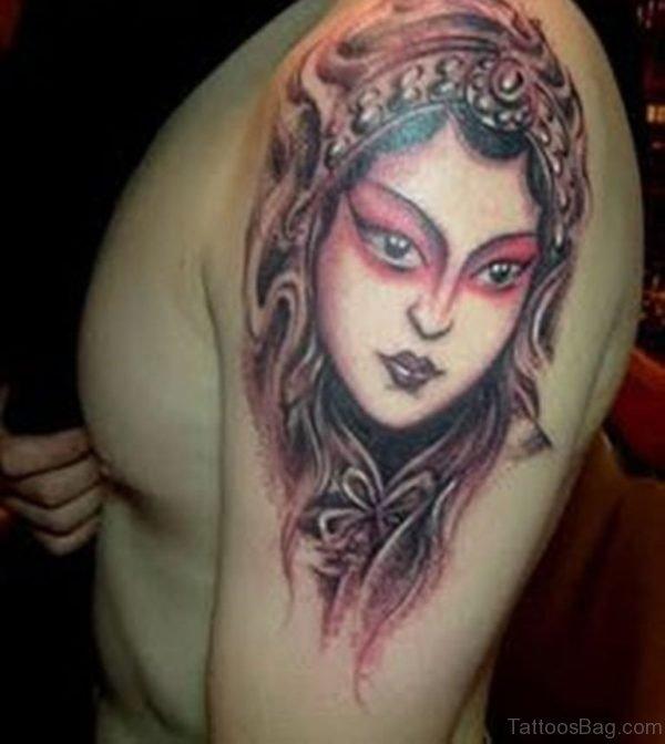 Image Grey Ink Female Portrait Tattoo