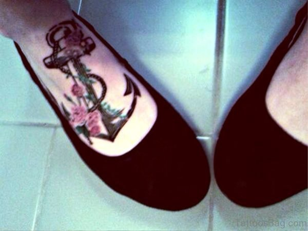Image Of Anchor Tattoo On Foot