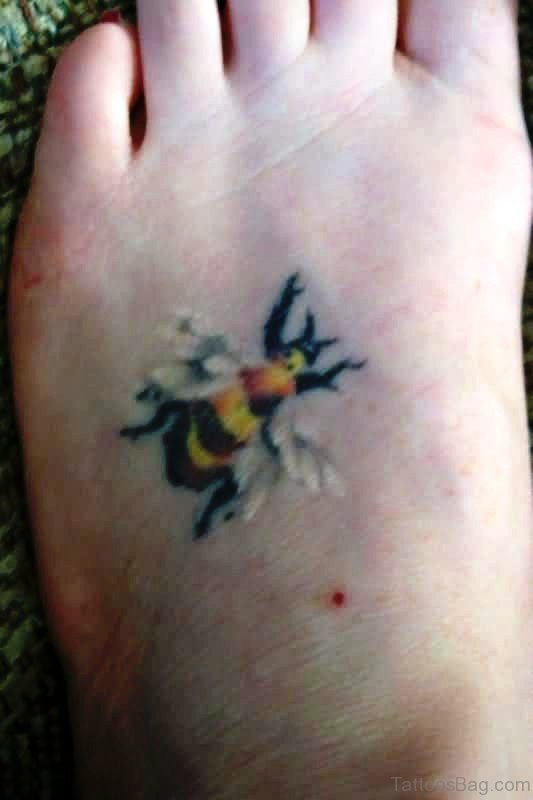 Image Of Bee Tattoo On Foot