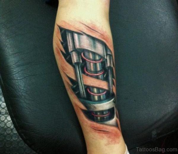 Image Of Biomechanical Tattoo Design On Leg