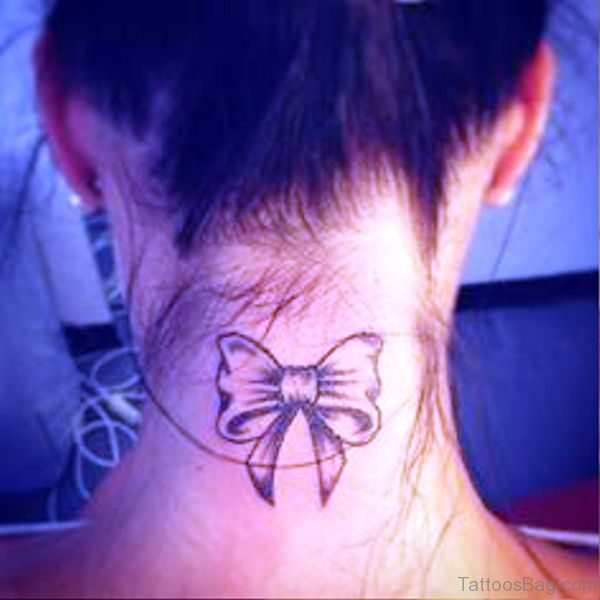 Image Of Bow Tattoo On Neck