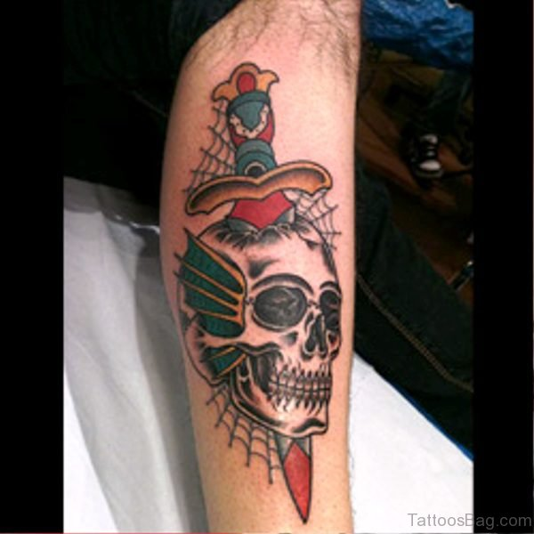 Image Of Dagger With Skull Tattoo On Arm