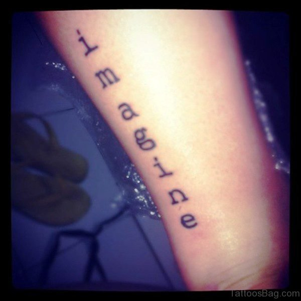 Imagine Word Tattoo On Wrist