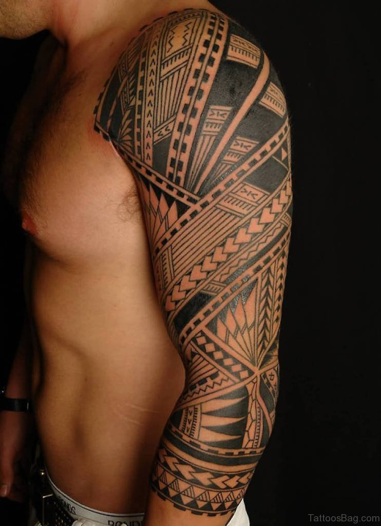 8a716a759 56 Maori Tattoo Designs On Full Sleeve