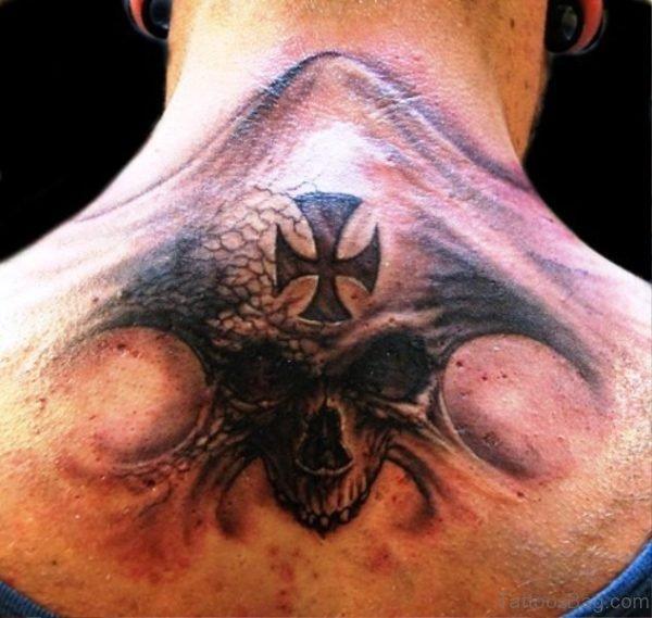Impresive Skull Neck Tattoo Design