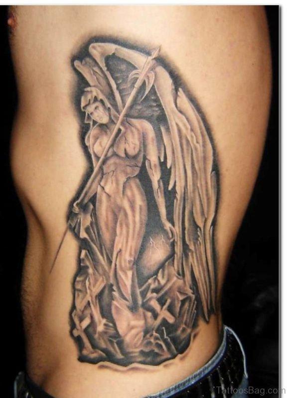 Impressive Angel Tattoo On Rib