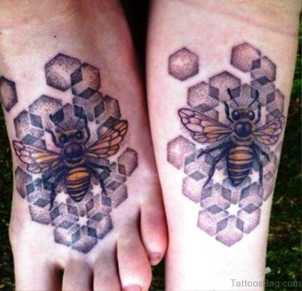 Impressive Bees Tattoos On Feet