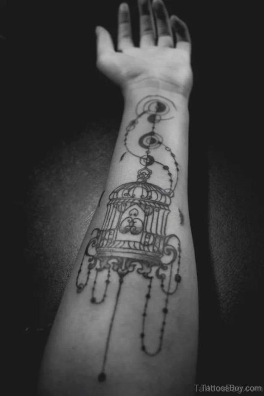 Impressive Black Birdcage Tattoo