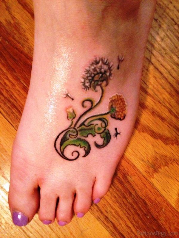 Impressive Dandelion Tattoo On Foot