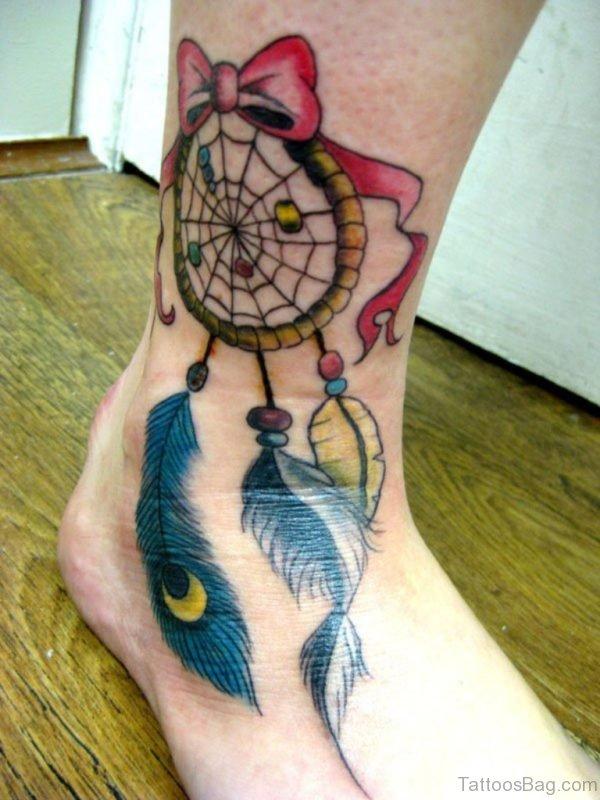 Impressive Dreamcatcher Tattoo On Ankle
