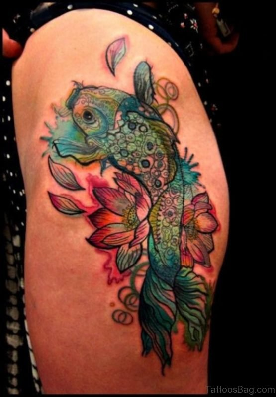 Impressive Fish Tattoo On Thigh