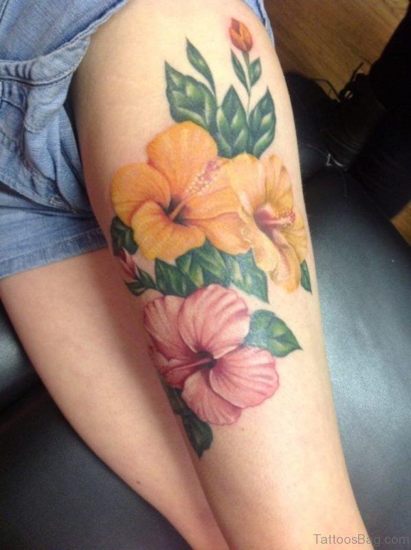 Impressive Flowers Tattoo On Thigh