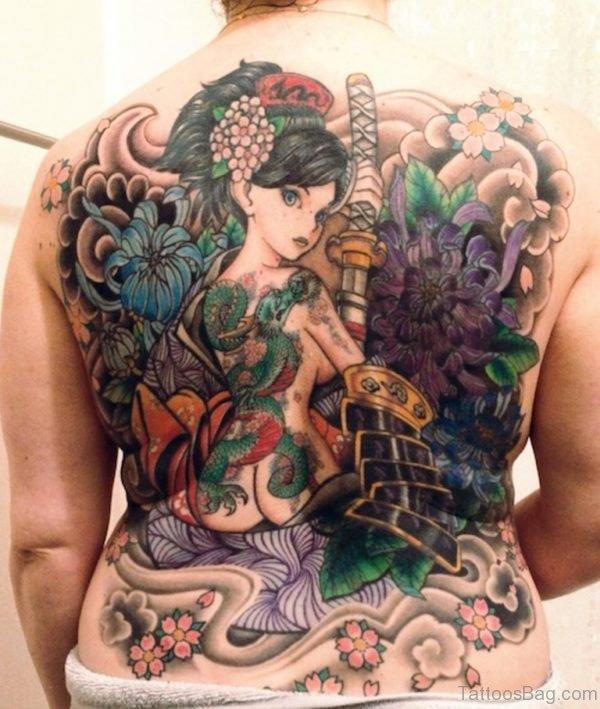 Impressive Geisha Tattoo