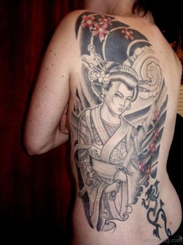 Impressive Geisha Tattoo Design