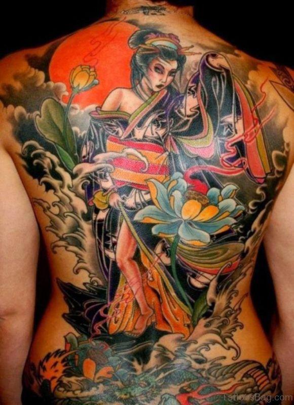 Impressive Geisha Tattoo On Back