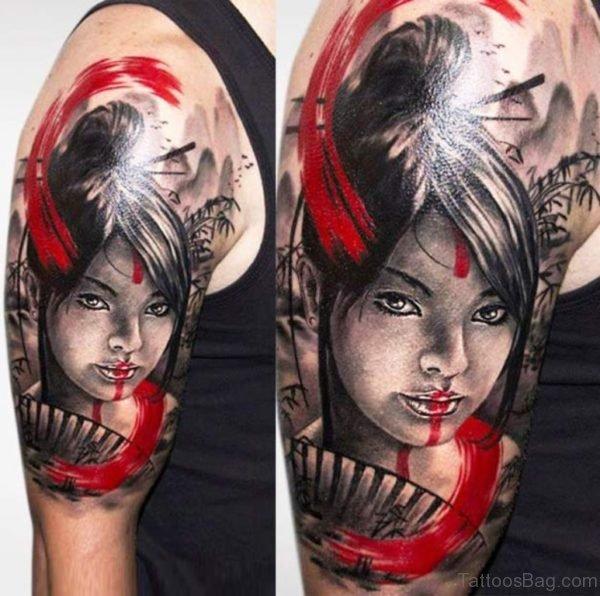 Impressive Geisha Tattoo On Shoulder