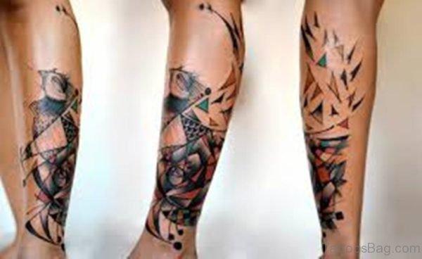 Impressive Geometric Tattoo On Leg