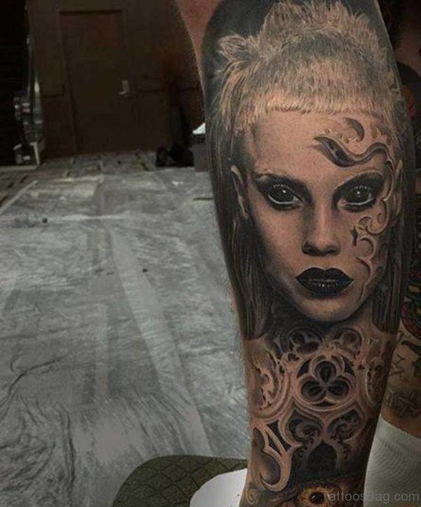 Impressive Girl Portrait Tattoo