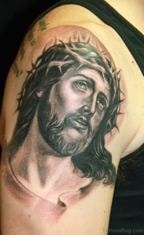 Impressive Jesus Tattoo On Shoulder