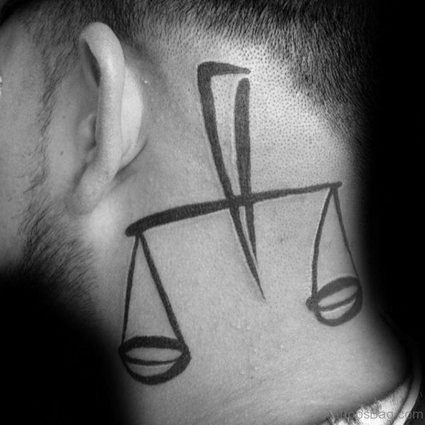 Impressive Libra Tattoo On Neck
