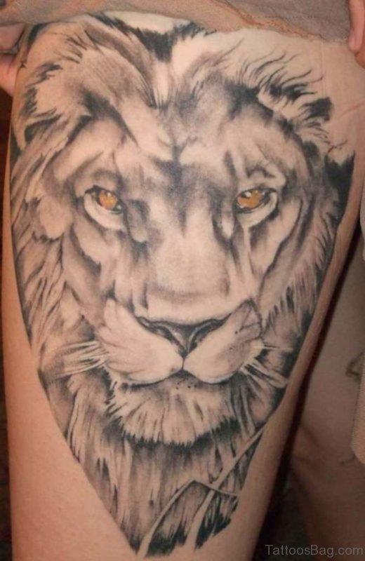 Impressive Lion Tattoo On Thigh
