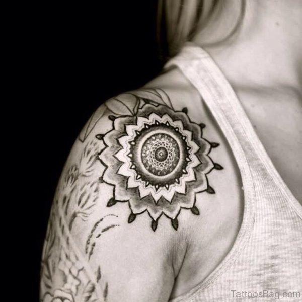 Impressive Mandala Tattoo On Shoulder