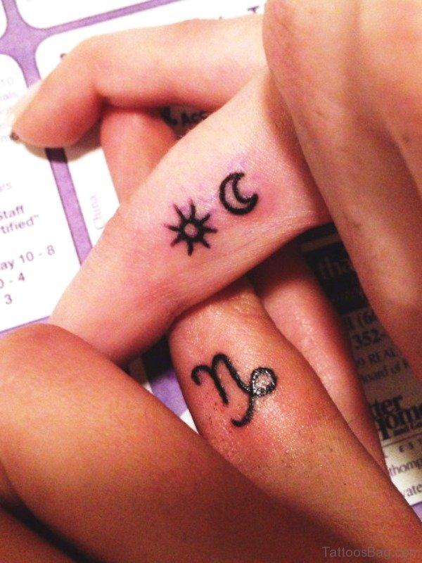 Impressive Moon Tattoo On Finger