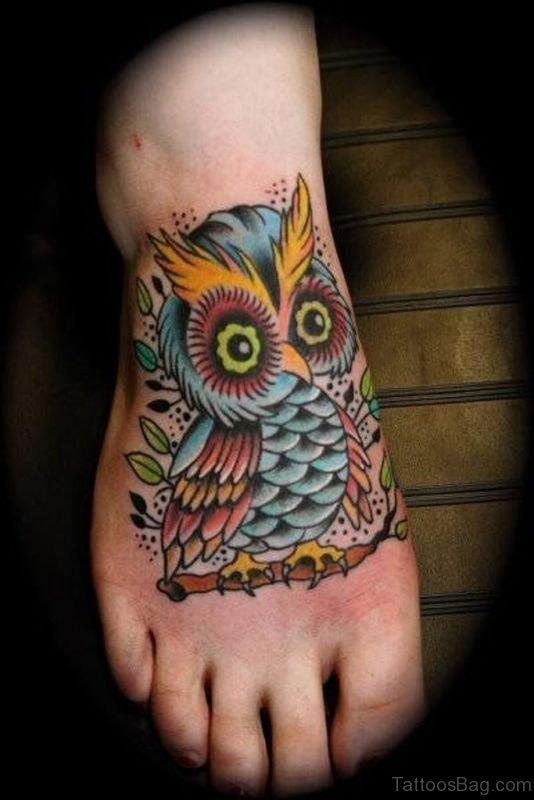 Impressive Owl Tattoo On Foot
