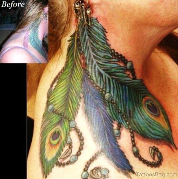 Impressive Peacock Feather Neck Tattoo