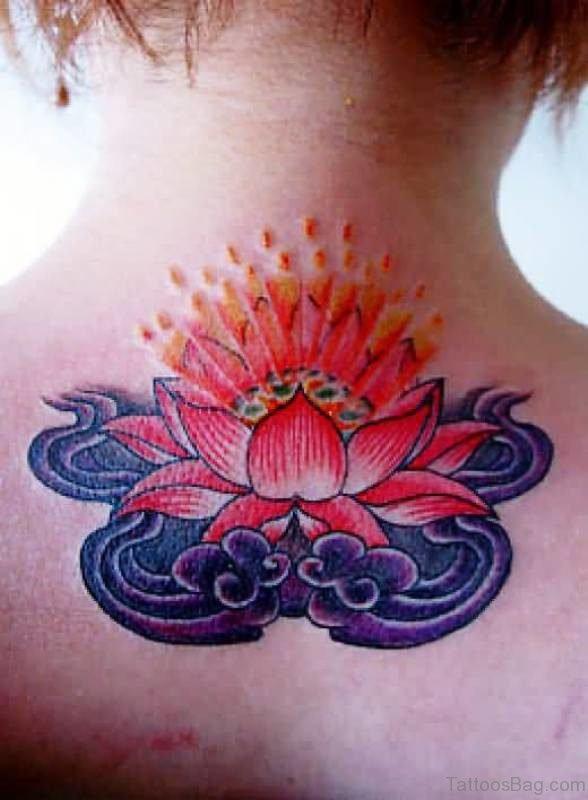Impressive Red Lotus Neck Tattoo