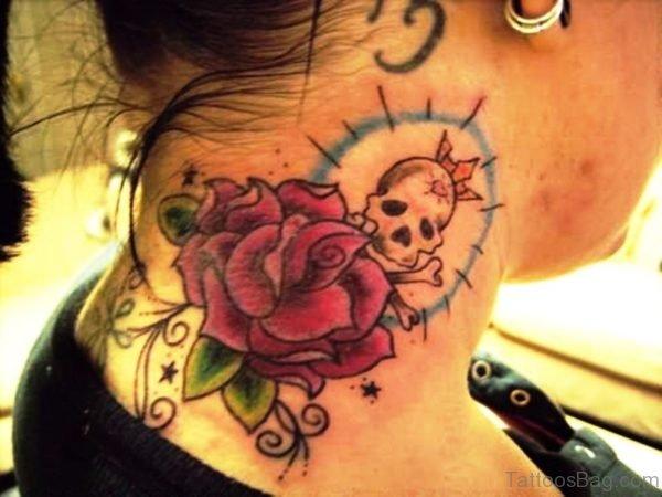 Impressive Skull Neck Tattoo