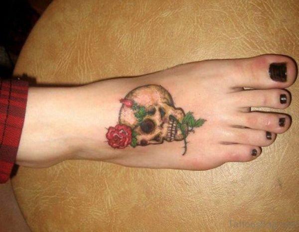 Impressive Skull Tattoo On Foot