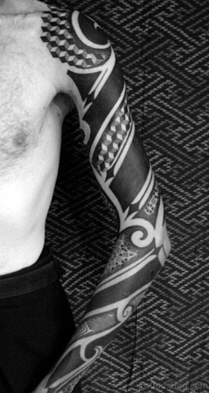 Impressive Tribal Tattoo For Full Sleeve