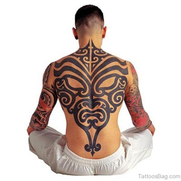 Impressive Tribal Tattoo On back