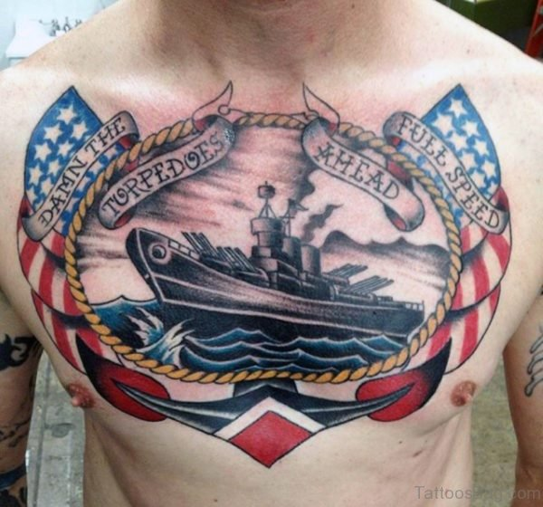 Impressive US Flag Navy Logo Traditional Tattoo On Chest