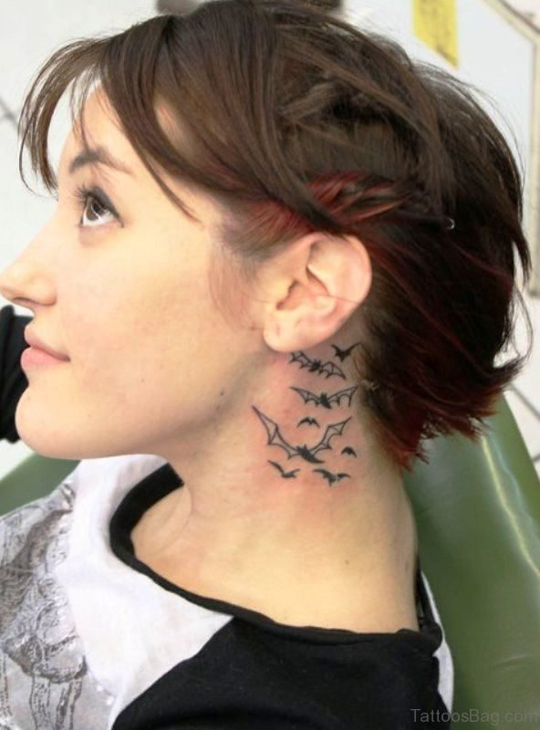 Imressive Bat Tattoo On Neck