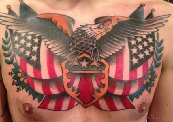 Incredible Army Flag And Eagle Tattoo