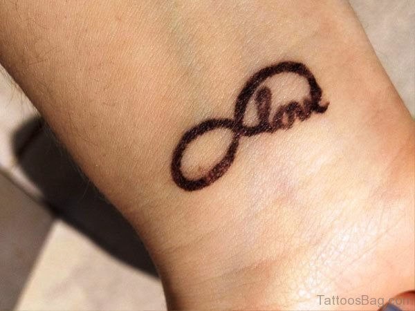 Infinity And Love Tattoo On Wrist