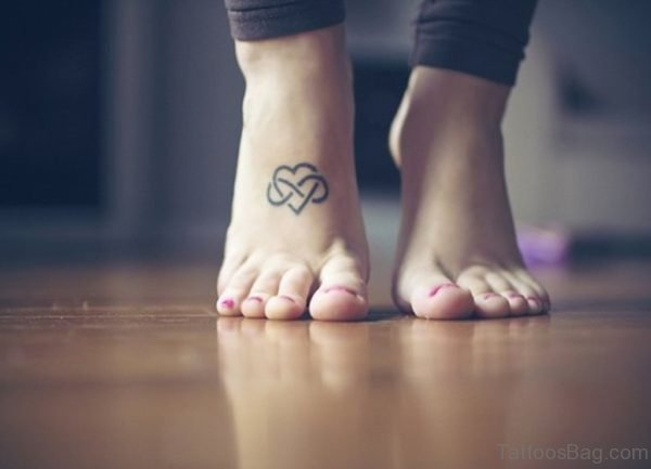 Infinity Heart Tattoo On Girl Foot